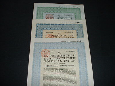 Germany/ Konigsberg 1927 Set Off 3 Gold Bonds With Embossed  State Seal