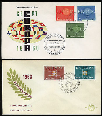 Europa Fdc - 7 Different - Cacheted, Unaddressed