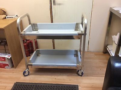 Commercial Kitchen Stainless Steel Catering Trolley 2 Tier