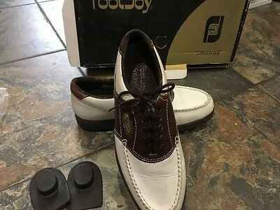 Footjoy softjoy ladies white & brown golf shoes 4.5/37 with box