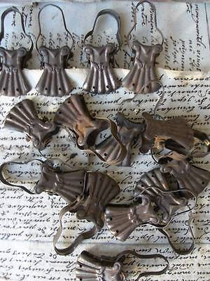 14 antique French toleware curtain crocodile clips - Christmas cards!