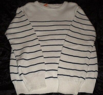 NWT Gymboree Ivory Pull Over Sweater with Black Stripes Size M(7-8) Ribber Neckb