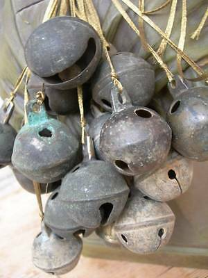 Collection 18 antique French bronze & brass goat bells w. patina - Christmas (D)