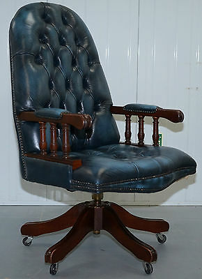 Rrp £1299 Rare Levis Blue Chesterfield High Back Victoria Office Captains Chair