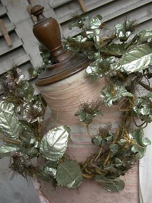 Convent find - antique French metallic foil flower wreath garland - Christmas!