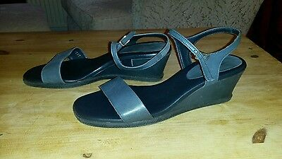 Grey Leather Wedge Sandals Size 6