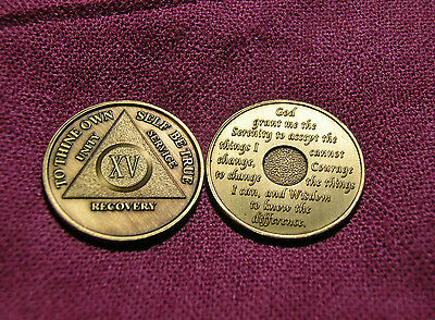 AA 15th Year ( XV ) Anniversary Alcoholics Anonymous ~ New Bronze Medallion