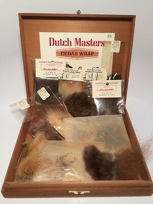Vintage Fly  Fishing Tying Animal Fur Kit in Cigar Box Bud Wilcox Rangely MA PA