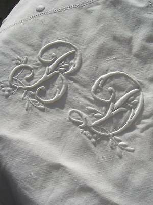 1 antique French hand embroidered linen trousseau pillowcase - monogram BD