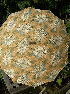 Adorable antique French 1920s printed cotton fabric parasol w. pompoms