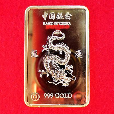 China Drachen - Medaille - Goldauflage