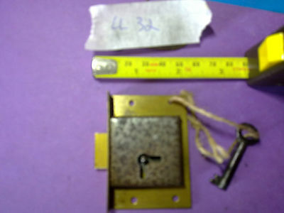 brass and steel drawer or cabinet lock, , 63 mm, antique or vintage, (LL32)
