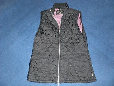 Ladies Black With Purple Lining  Barbour Lightweight Waistcoat Size: 12