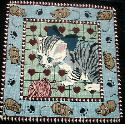 Cotton Woven Tapestry Picture Unframed Cat & Mice