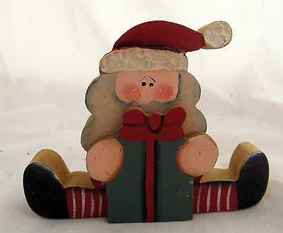Santa Claus Christmas Holiday Wood Wooden Cut Out Table Sitter Decor Decoration