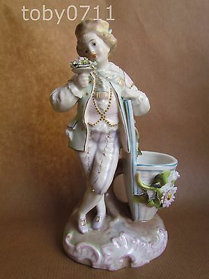 SITZENDORF PORCELAIN POSY HOLDER IN THE FORM OF A BOY HOLDING A POSY (Ref442)
