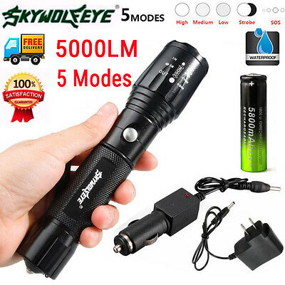 5000LM XM-L T6 LED 18650 Flashlight USB Rechargeable Zoom Torch +Battery+Charger