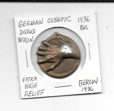 1936 UNC Berlin Germany 1936 Olympics Extra High relief Discus & Hand