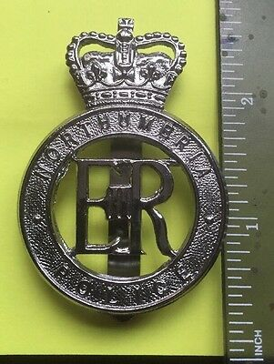 Obsolete Large Northumbria Police Constabulary White Metal Cap Badge.