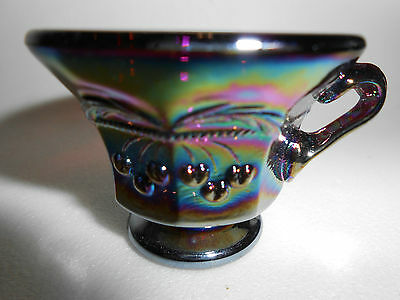 Amethyst purple carnival glass salt dip cellar celt cherry and cable pattern art
