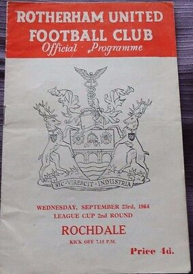 Rotherham United v Rochdale 23 September 1964 League Cup 2nd Round