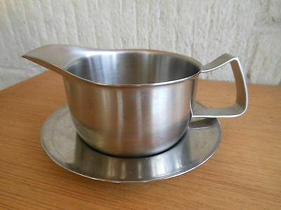 Old Hall Stainless steel sauce boat and saucer