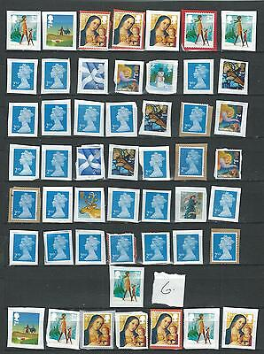 50 GB STAMPS   2nd CLASS    UNFRANKED    ON PAPER   LOT   6