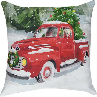 "Holiday Drive Dog in Truck Christmas Indoor/Outdoor 18"" Toss Pillow ~Climaweave"