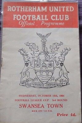 Rotherham United v Swansea Town Rare League Cup Programme14 October  1964