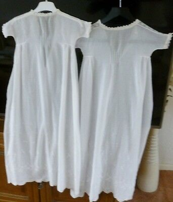 2 vintage long Christening Gowns identical