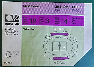 1974 WORLD CUP MATCH TICKET WEST GERMANY vs. YUGOSLAVIA GROUP - DUSSLEDORF