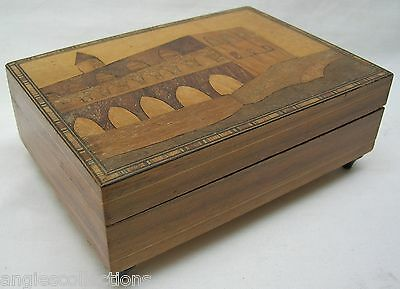 Wooden Sorrento Trinket Jewellry Music Box Perugia Cathedral Italy Vintage