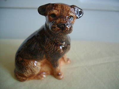 Lovely Figurine Of The Border Terrier Dog By Quail Pottery