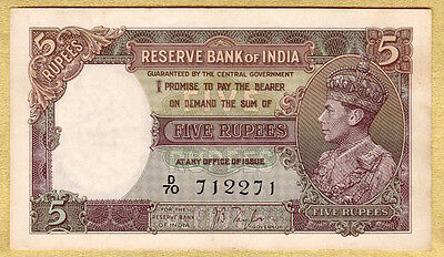 British India, George Vi, 5 Rupees, Signed By J. B. Taylor, Almost Unc # J6