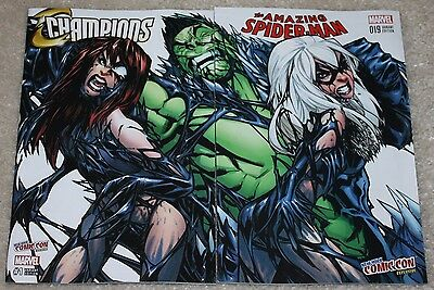 Amazing Spider-Man 19 Champions 1 Venom Black Cat Mj Ramos Variant Set Nycc 16