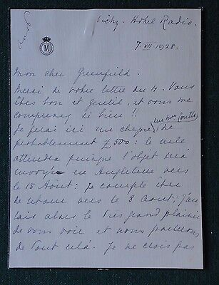 Signed Autograph Letter Dom King Manuel II of Portugal in Exile 1928 Royal Jewel