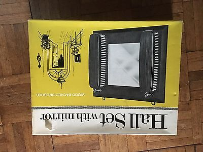 vintage wooden hall set ,mirror & 2 brushes ,boxed,not Used
