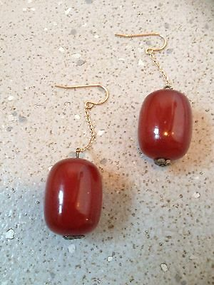 Antique/vintage 9ct Gold And Cherry Amber Bakelite Drop Earrings.