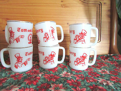 Vintage Tom and Jerry Christmas 6 CUPS/MUGS MILK GLASS GOLD TRIM