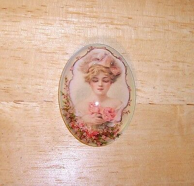 Antique Lady & Roses Glitter Unset Handmade Art Bubble Cameo Cabochon 30X40mm