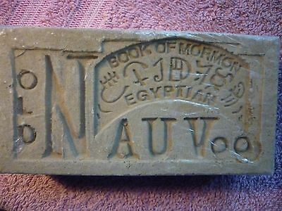 Collectible Old Nauvoo Book Of Mormon Egyptian Clay Brick Paperweight Historical