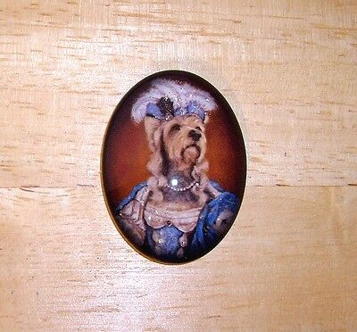 Dog Marie Glitter Unset Handmade Art Bubble Cameo Cabochon 30X40mm