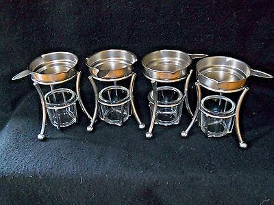 4 VIntage Bloomfield Stainless Steel butter warmers / shrimp cocktail / Lobster