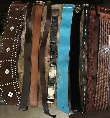 Mixed Job Lot of 10 Vintage Retro 80's Ladies Leather & Faux Leather Belts