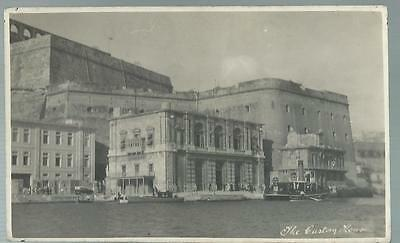 Old Postcard  Real Photo  The Custom House   Valletta  Malta     Not Posted