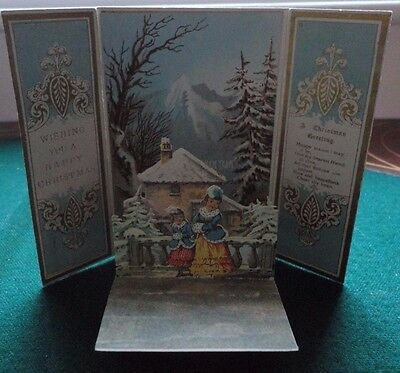 Antique Pretty Printed Pink & Gold Victorian Blank Christmas Card Pop Up Suprise