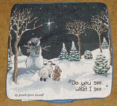Do You See What I See ... Snowman/Rabbit/Lamb Tapestry Square Pillow Shell
