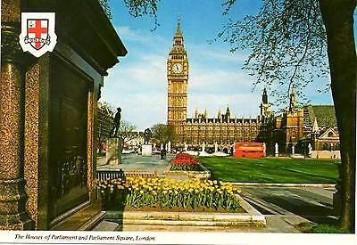 Houses of Parliament and Parliament Square - London - Postcard 1980's
