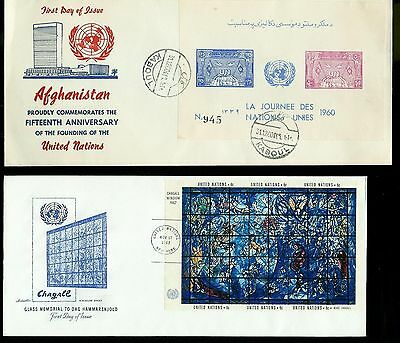 United Nations U.N. Set of 8 FDCs inc Chagall Souvenir Sheet + Afghanistan cover