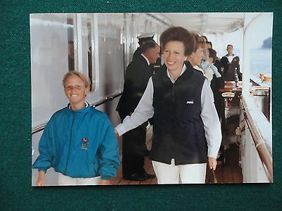 Fine Antique Photo of Princess Anne & Daughter Zara on Royal Yacht Britannia